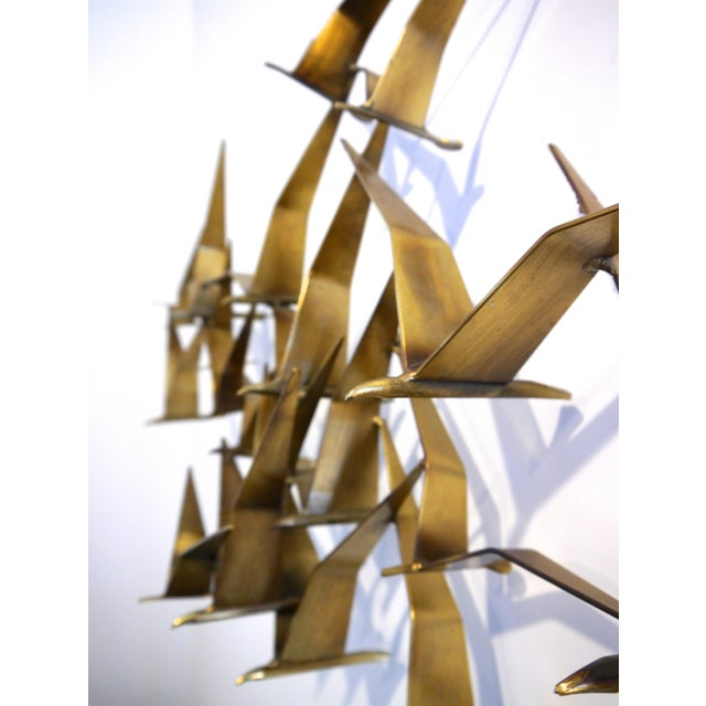 "1968 C. Jere Brass Brutalist "" Birds in Flight"" Wall Sculpture - Image 7 of 8"