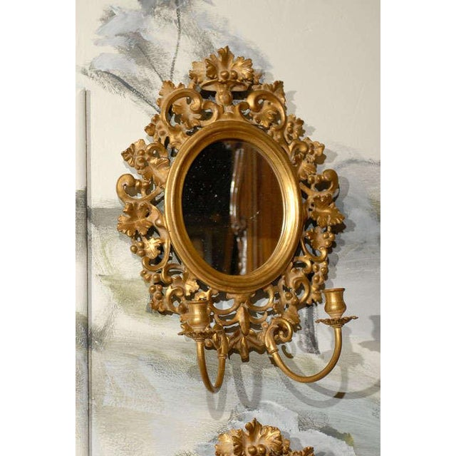 Vintage Italian Mirrored Candle Sconces - a Pair For Sale - Image 4 of 8