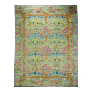 "Arts & Crafts Boho Hand-Knotted Wool Rug - 9'1"" X 11'7"""