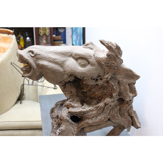 Hand Carved Bust of Horse Head in Wood - Image 3 of 11