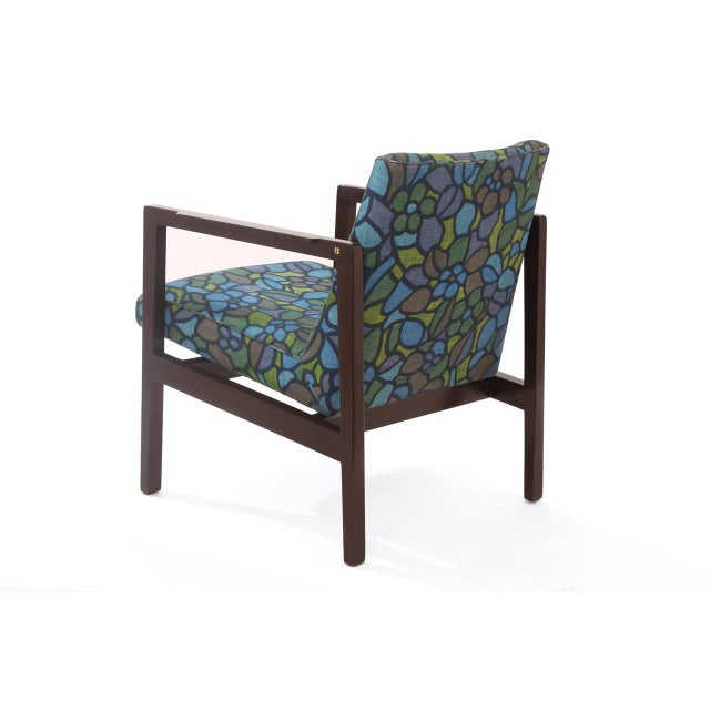 Gold Edward Wormley Mahogany Brass and Upholstered Armchair For Sale - Image 8 of 9