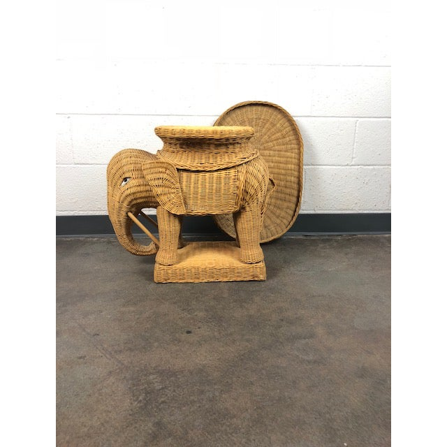 Vintage Woven Rattan Elephant Tray Table For Sale - Image 12 of 13