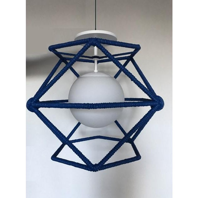 Custom Bone Simple Hexagonal Cage Rope Ceiling Fixture - Cubbies Blue For Sale - Image 4 of 4