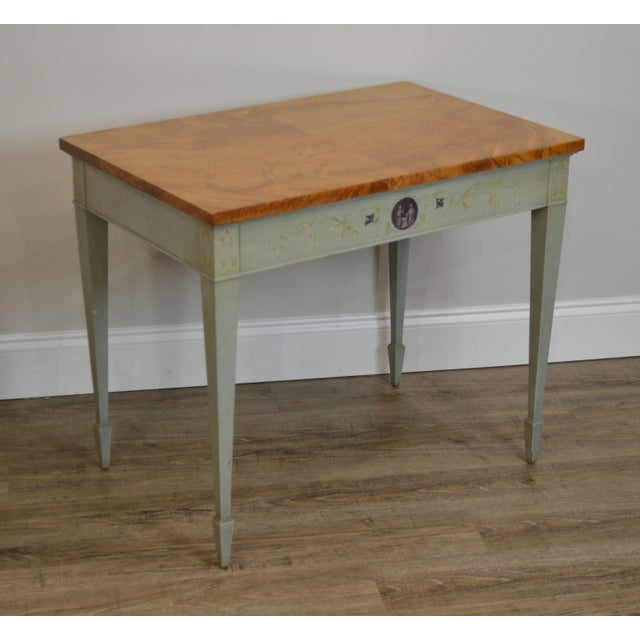 High Quality American Made Hand Crafted Side Table with Dovetailed Drawer and Burl Wood Top