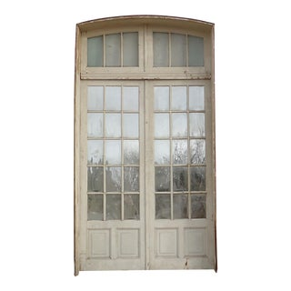 Mirrored Antique French Doors With Arched Transom For Sale