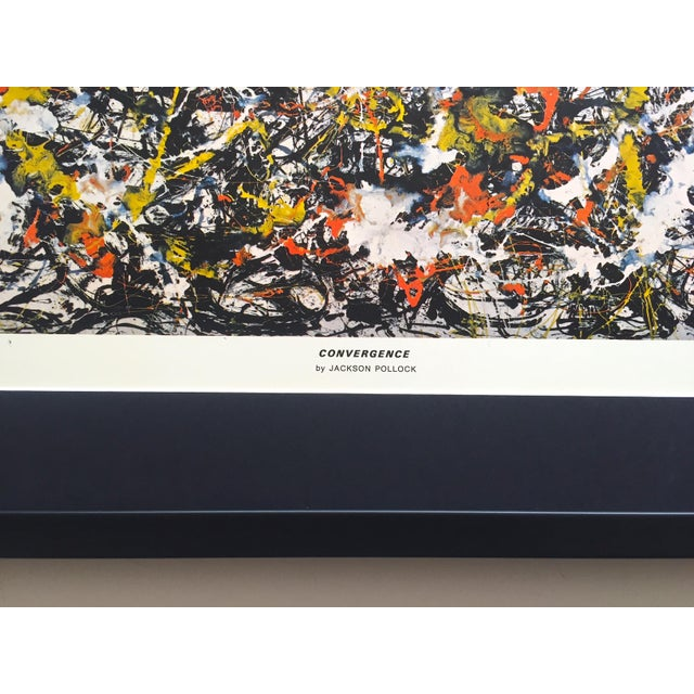 """Black Jackson Pollock Rare Vintage 1964 Mid Century Modern Framed Abstract Expressionist Lithograph Print """" Convergence """" 1952 For Sale - Image 8 of 13"""