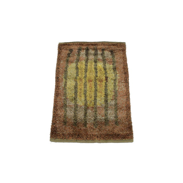 Graphic Finnish Rya Rug For Sale