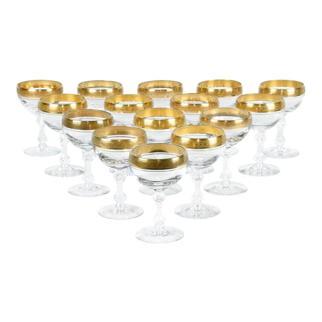 Vintage Set 15 Champagne Coupes For Sale