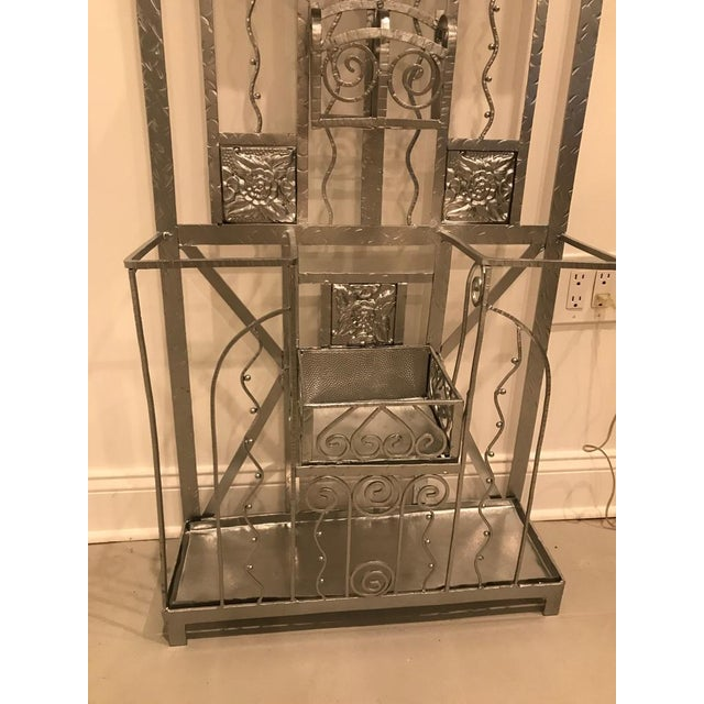French Art Deco Hall Tree Coat Rack With Sabino Glass Light Sconce For Sale - Image 11 of 13