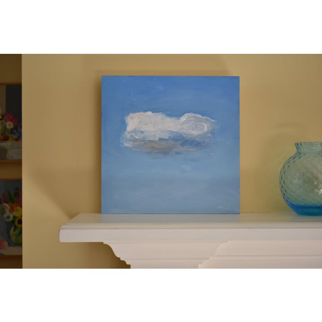 """A study of a fleeting cloud. This is professional grade acrylic on a cradled 3/4"""" thick, 10"""" square wood panel. Unframed,..."""