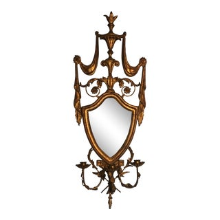 Italian Hand Carved Giltwood Shield Mirror With Three Arms For Sale