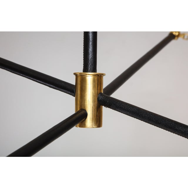 Sculptural Custom Leather and Brass Four-Arm Fixture With Articulating Arms For Sale - Image 12 of 13
