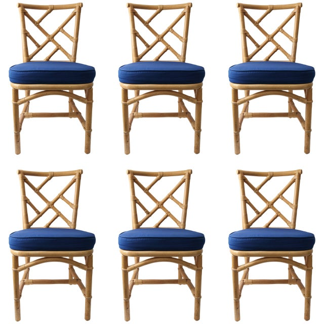 Chippendale Bamboo Side Chairs - Set of 6 For Sale