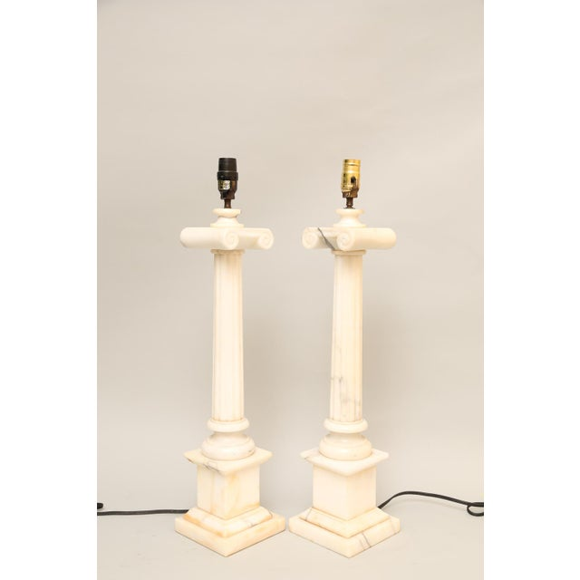 Pair of Carved Alabaster Columnar Form Table Lamps For Sale - Image 9 of 12