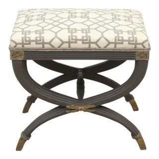 Neoclassical Style Peppery Gray Curule Bench