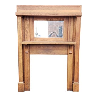 Oak Turn of the Century Arts & Crafts Style Fireplace Mantel 59 X 75 For Sale