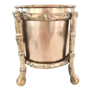 Mid 20th C Brass Jardiniere With Faux Bamboo Stand For Sale