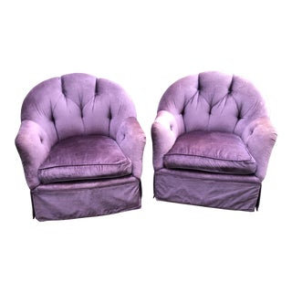 Contemporary Swaim Purple Velvet Swivel Chairs - a Pair