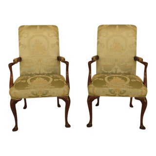 Kittinger Mahogany Open Arm Chairs - a Pair