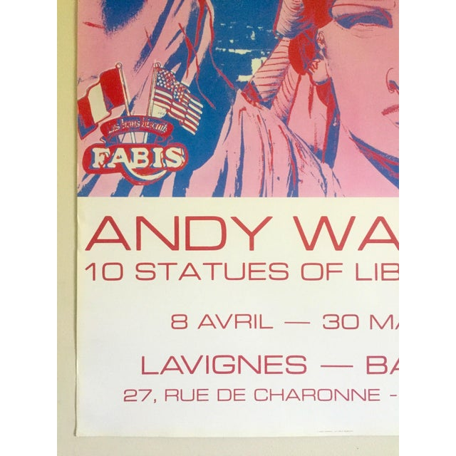 """Paper Andy Warhol Rare 1986 Lithograph Print Paris Exhibition Poster """" 10 Statues of Liberty """" For Sale - Image 7 of 13"""