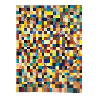 Geometric Rainbow Squares Painting on Panel For Sale