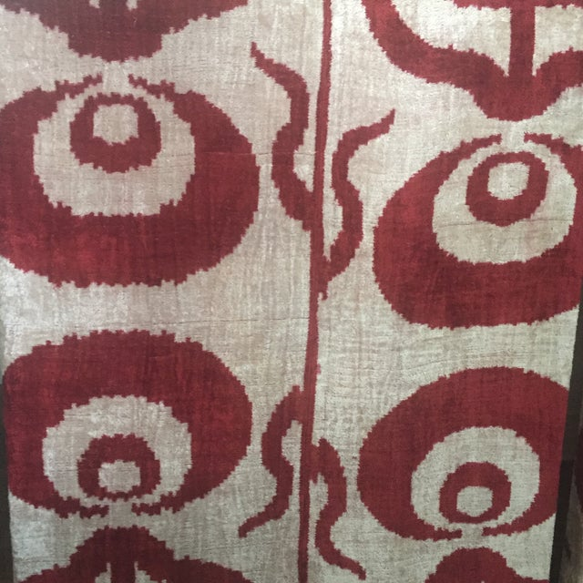 Silk Velvet Ikat Ottoman Fabric Wall Art Hangings - A Pair For Sale - Image 4 of 11