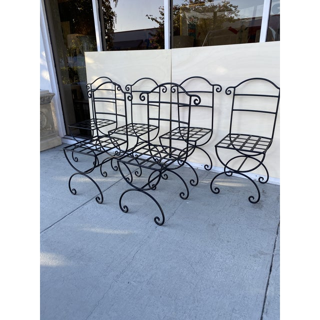 1980s Wrought Iron Asian Inspired Set of 6 Patio Chairs For Sale - Image 5 of 13