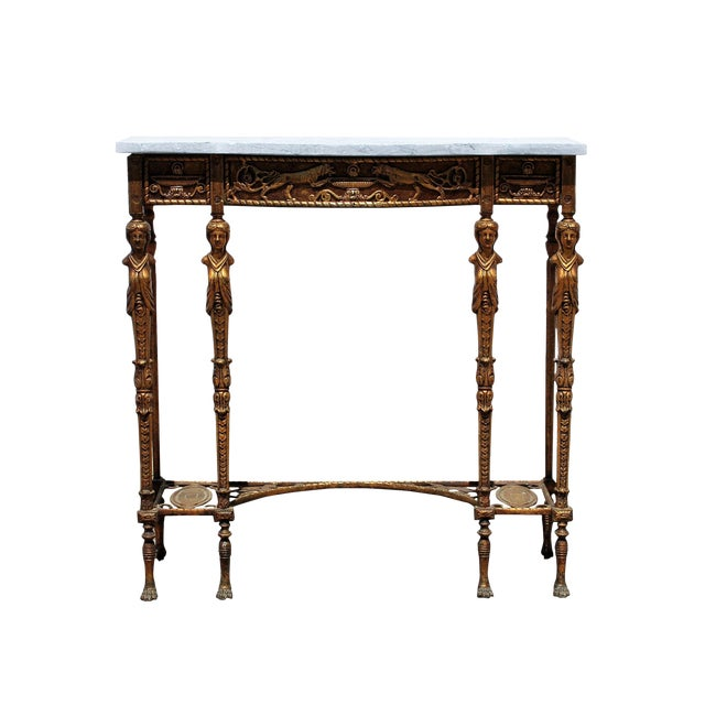 1920s Art Deco Marble Top Iron Table For Sale