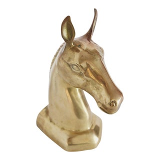 Brass Horse Head Bookend For Sale