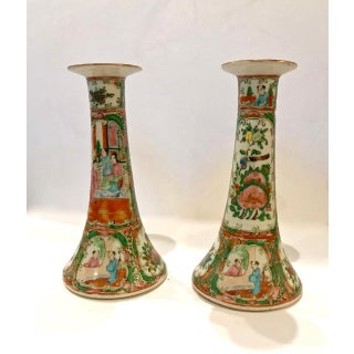 Chinese Export Rose Canton Candlesticks, C. 1860-1870 - a Pair Preview