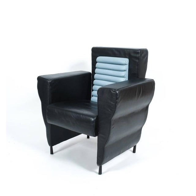 Busnelli Leather Armchair by Ugo La Pietra, 1985 For Sale - Image 4 of 4