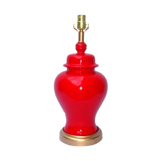 Hollywood Regency Red Lacquer Ceramic Lamp For Sale