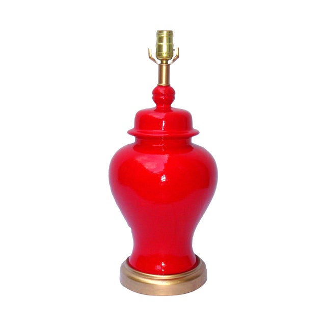 Hollywood Regency Red Lacquer Ceramic Lamp - Image 1 of 11