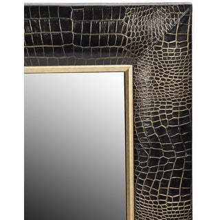 Black Crocodile Leather Framed Mirror With Gold Tipping Preview