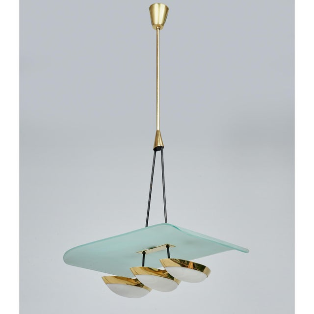 Metal Angelo Lelii for Arredoluce Glass, Brass and Perspex Pendant Chandeliers, Italy 1950's - a Pair For Sale - Image 7 of 10