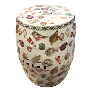 Contemporary Shell Motif Garden Seat End Table For Sale
