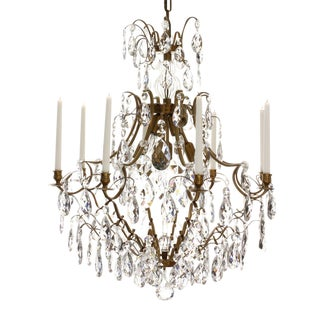 8 Arm Crystal Chandelier in Amber Coloured Brass For Sale