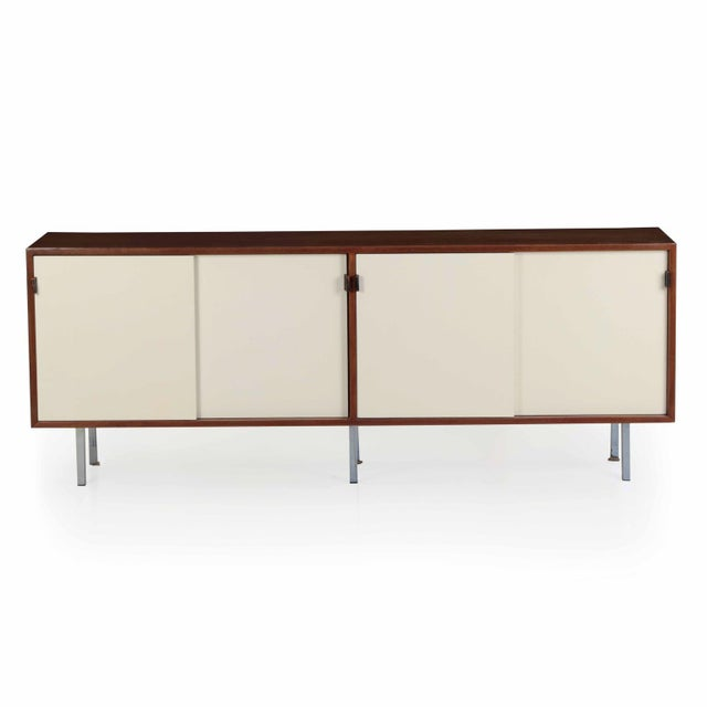 Florence Knoll Walnut and White Laminate Sideboard Credenza, Signed - Image 2 of 11