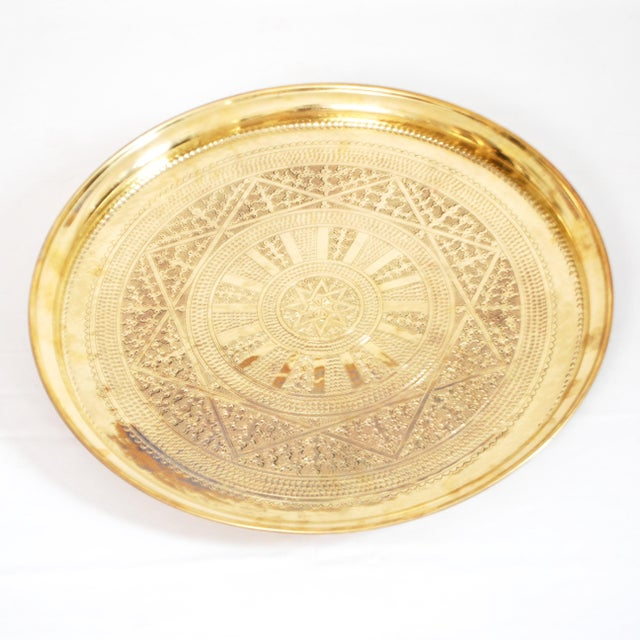 Vintage Moroccan Brass Tray - Image 2 of 3