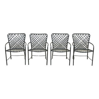Set of 4 Vintage Brown Jordan Tamiami Patio Pool Dining Arm Chairs For Sale