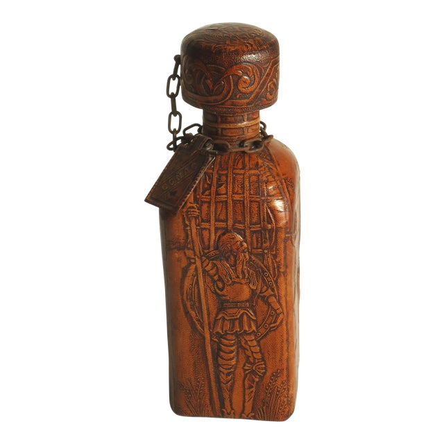 70s Leather Wrapped Spanish Conac Decanter For Sale