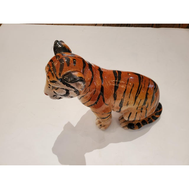 Italian Ceramic Tiger Cub Sculpture For Sale - Image 9 of 10