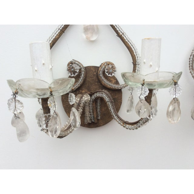 Rock Crystal Silvered & Beaded Metal Sconces - A Pair For Sale - Image 5 of 8