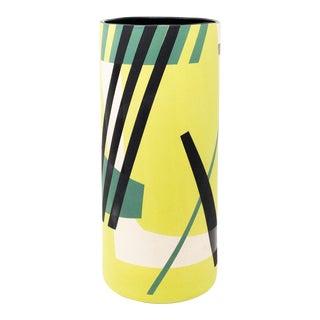 Mid-Century Style Handmade Ceramic Vase - Green For Sale