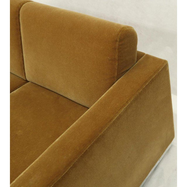 Brown Mohair Loveseat on High Polish Stainless Steel Base Ward Bennet for Brickel For Sale - Image 8 of 12