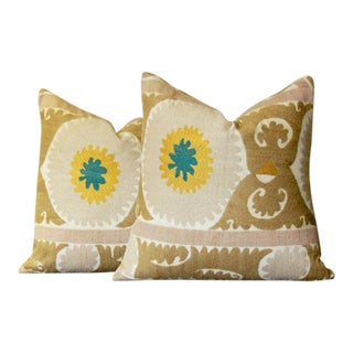 Daisy Suzani Square Pillow, Pair For Sale