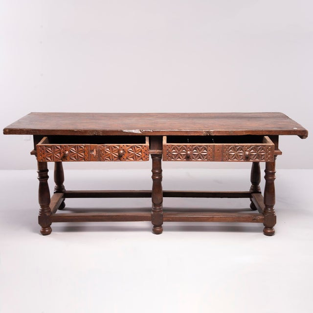Late 18th Century Portuguese All Original 18th Century Carved Walnut Table For Sale - Image 5 of 13