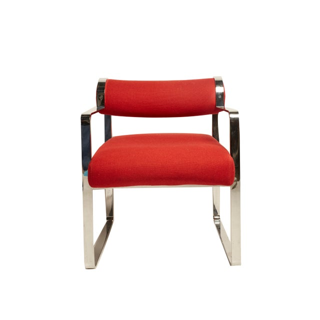 Pair of modern Italian chairs. Chrome plated, original red fabric. Wear consistent with age.