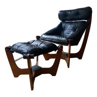 1980s Odd Knutsen High Back Luna Chair & Ottoman, 2 Pieces For Sale