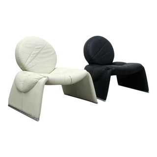 Pair of Black and White Vintage Leather Italian Lounge Chairs For Sale